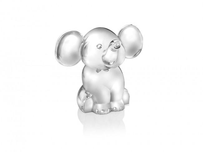 Spardose Elefant sitzend silbrig