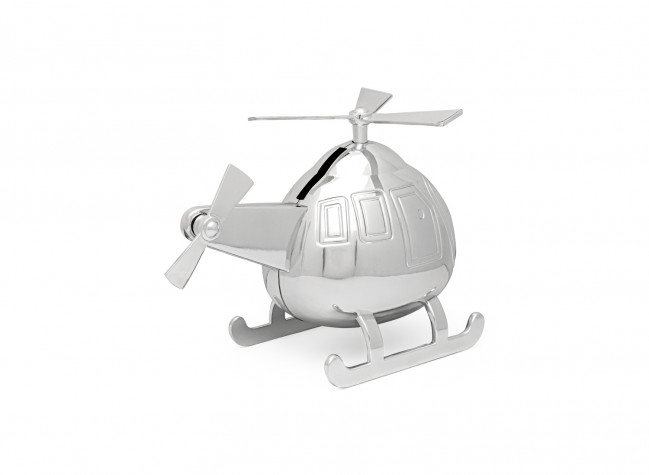 Spardose Hubschrauber silbrig