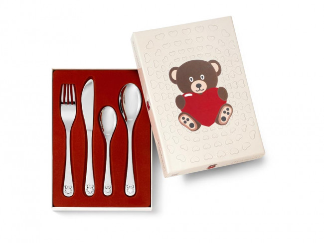 Kinderbesteck Bär mit Herz 4tlg Edelstahl