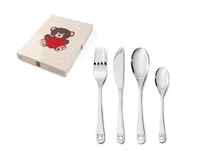 Kinderbesteck 4tlg Bär mit Herz Edelstahl