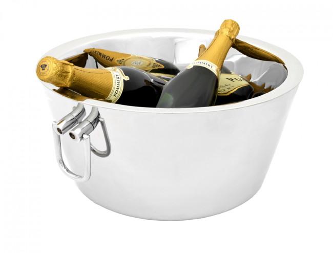 Champagnerschale doppelwandig Edelstahl m. Griffen