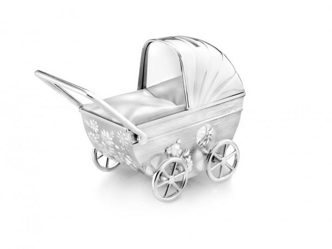 Spardose Kinderwagen +Gravurplatte vers. anl.