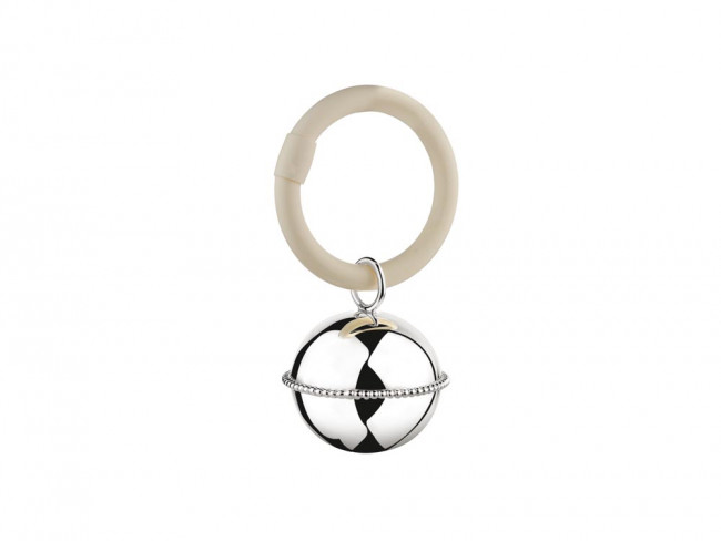 Rassel Ball Perlrand am Ring 925er Silber