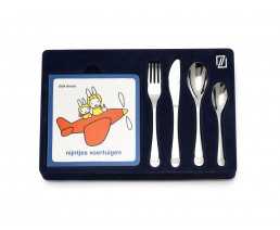 Kinderbesteck Miffy Fahrzeuge, 4-teilig, Edelstahl, mit Vorlesebüchlein