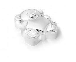 Zahn-/Haardose Bär mit Herz, versilbert anlaufgeschützt
