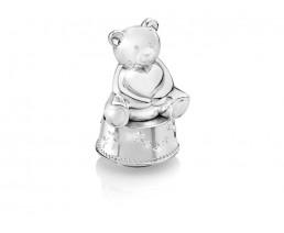 Spieluhr/Spardose Bär mit Herz, versilbert anlaufgeschützt
