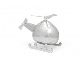 Spardose Hubschrauber, silbrig