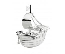 Spardose Piratenschiff, versilbert anlaufgeschützt