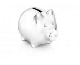 Spardose Schwein, versilbert anlaufgeschützt