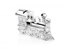 Spardose Lokomotive, versilbert anlaufgeschützt