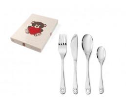 Kinderbesteck Bär mit Herz, 4-teilig, Edelstahl
