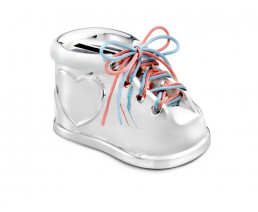 Spardose Schuh, versilbert anlaufgeschützt
