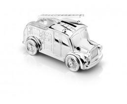 Spardose Feuerwehrauto, versilbert anlaufgeschützt