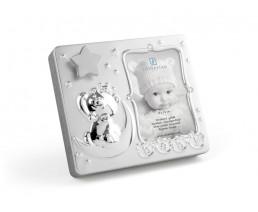 Fotorahmen Baby 9x13cm, mit Spieluhr, versilbert anlaufgeschützt