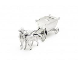 Spardose Kutsche mit 2 Pferden, versilbert anlaufgeschützt