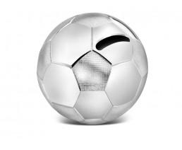 Spardose Fussball, versilbert anlaufgeschützt