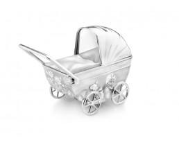 Spardose Kinderwagen mit Gravurplatte, versilbert anlaufgeschützt