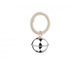 Rassel Ball, Perlrand, am Ring (B90 schwer versilbert)